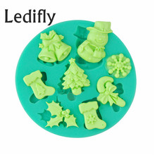 Ledifly Xmas Christmas 3D Silicone Cake Mold Chocolate Jelly Ice Model Baking Mould Tool