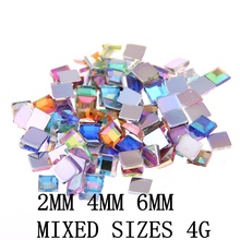 Nail Rhinestones FlatBack Square 2mm 4mm 6mm Mixed sizes 4g About 180pcs For Crafts Scrapbooking DIY Clothes Nail Art Decoration