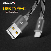 USLION USB Type-C Cable Charger Cable Data Sync USB C Fast Charging Type C Cable Xiaomi Huawei Honor Samsung S9 S8 Note 9 8