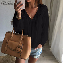 ZANZEA Brand Autumn Shirts 2017 Women Casual Loose Patchwork Lace Crochet Blouses Sexy V Neck Long Sleeve Blusas Tops S-5XL