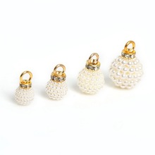 Wholesale 10pcs Gold + milk white leaf imitation pearl Charms pendants fashion Jewelry Findings DIY Earring Making(China)