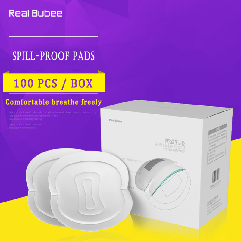 Real Bubee 100/PCS soft 100% cotton Feeding Nursing breast pads large capacity of disposable spill-proof pad baby breast pad<br>