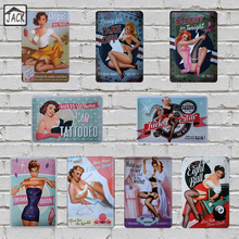 Sexy Lady retro poster metal tin signs 20X30CM iron plate wall decor plaque club home lounge bar pub club metal wall picture