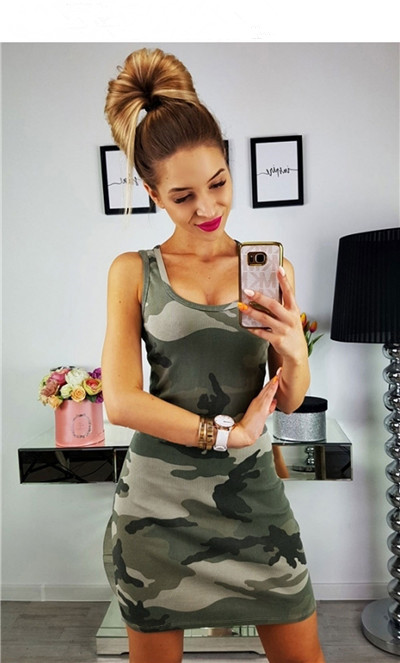 19 New Summer Fashion Women Sexy Tank Dress Slim Casual Camouflage Military O-Neck Print Splice Empire Mini Dresses Vestidos 4