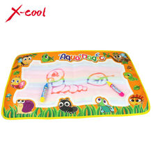 2822-2 59x36cm multicolor rainbow water drawing mat with 2 pen doodle rug for painting game birthday gift for Baby kids