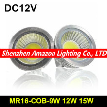 10Pcs Super Power COB LED MR16 12V Dimmable 9W 12W 15W Spot Light Bulb Energy Saving CE RoHS ETL Free shipping