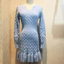 Элегантный зима платье одежда 2015 женщин осень мода Оборками Русалка с длинным рукавом bodycon платье Тонкий трикотажные платья OM852(China)