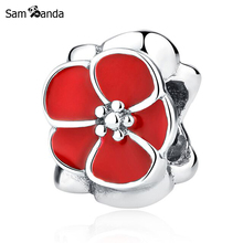 Authentic 925 Sterling Silver Charms Red Flower Beads With Glaze Fit Pandora Bracelet & Bangle For Women DIY Fashion Jewelry(China)