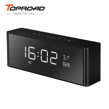 TOPROAD Portable Bluetooth Speaker Alarm Clock 2200mAh Soundbar Altavoz Surround Wireless Speakers Support USB TF AUX For Phone(China)