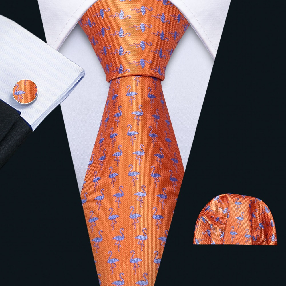 Fashion Designers Oragne Bird Pattern Silk Tie Hanky Set Barry.Wang 8.5cm Neck Ties For Mens Gifts Party Dropshipping FA-5178