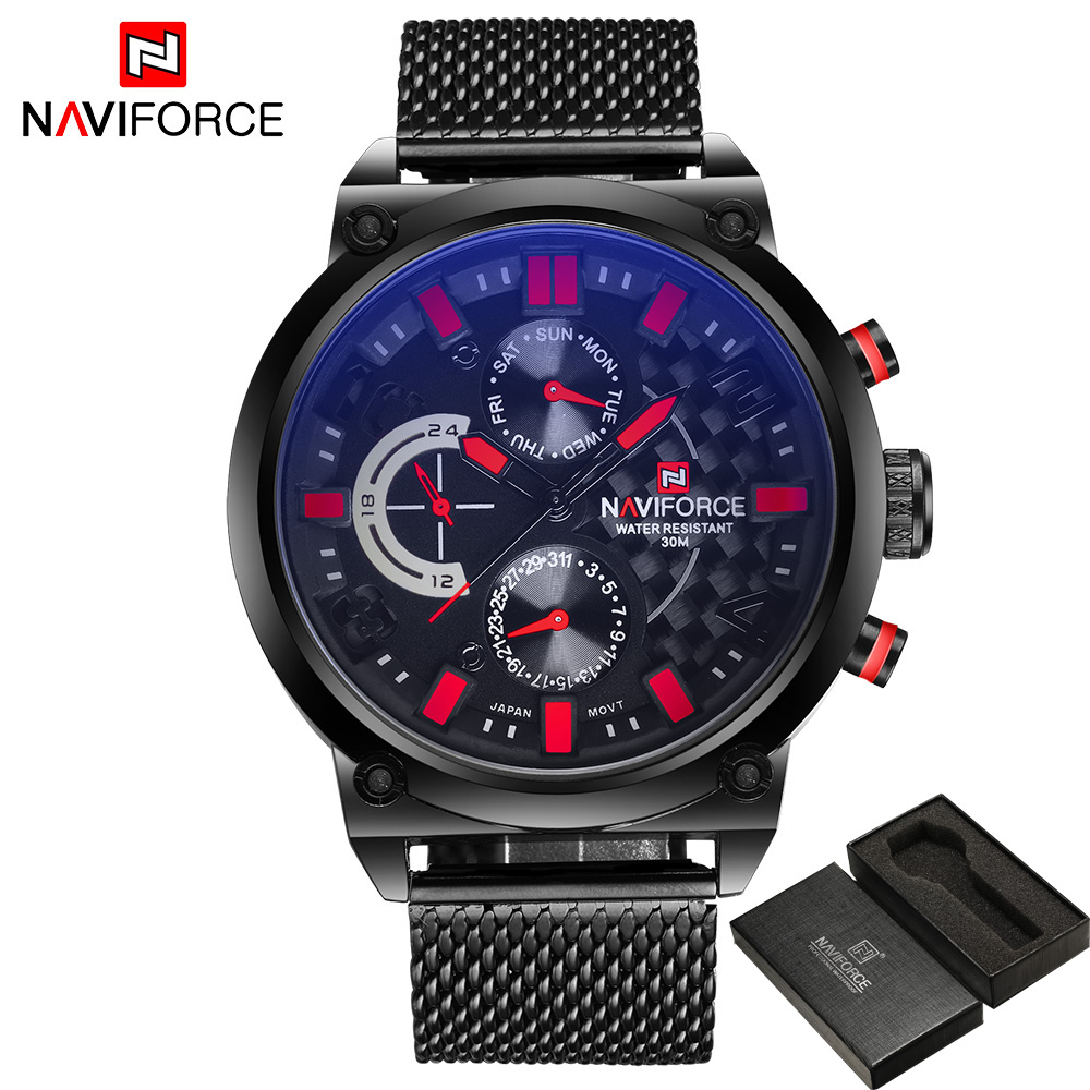 Luxury Brand Naviforce Men Stainless Steel Analog Watches Mens Quartz 24 Hours Date Clock Man Fashion Casual Sports Wirst Watch<br>