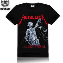 Mens Music Fashion Black Color 100% Cotton Metallica T-Shirt Short Sleeve Metallica Top Tees Shirt Justice For All