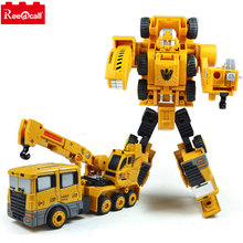 Reedcall Crane Truck Engineering Transformation Robot Car Deformation Toy 2 in 1 Metal Alloy Construction Vehicle Kids Toys Gift(China)