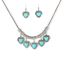 Parabola Silver Color Vintage Created Turquoises Jewelry Sets Heart Pendant Drop Earrings Choker Necklace for Women ZSS0004