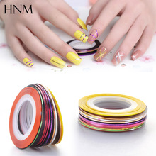 HNM 10Pcs Mixed Colors Nail Rolls Striping Sticker Tape Line DIY Nail Art Tips Decoration Sliders Sticker for Nails