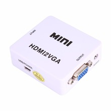 White HDMI2VGA HD 1080P MINI HDMI to VGA HD Converter with Audio Video Box Adapter + Cables For Xbox360 PC DVD PS3 Free Shipping