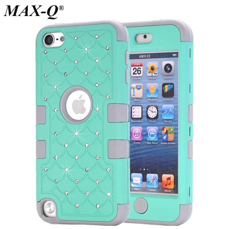 MAX-Q Case iPod Touch 5 5th Generation Silicone + PC Case Girls Fashion Luxury Diamond Rhinestone Bling Armor Hard Cover