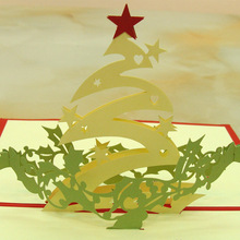 10pcs/lot Wedding Invitations 3D Cubic Christmas Star Laser Cut Paper Greeting Card Custom Postcards