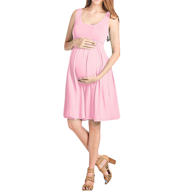 Maternity Clothes Maternity Dresses Summer Fashion Pregnancy Dress Nursing Maternity Solid Sleeveless Vest Causal Dress JE12#F (3)