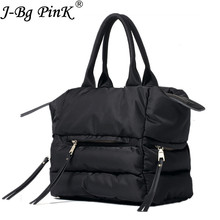 J-BG PinK 2017 New Winter Space Bale Handbag Woman Casual Space Cotton Totes Bag Down Feather Padded Lady Shoulder Crossbody Bag(China)