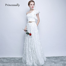 Robe De Soriee New White Evening Dress One Shoulder Lace Feather With Sashes Elegant Formal Bride Engagement Prom Party Gown(China)