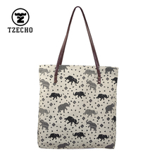 TZECHO Wholesale Large Shopping Bags Reusable Grocery Prints Elephant Women Tote Bag Eco Big Foldable Canvas Cotton Ecobag