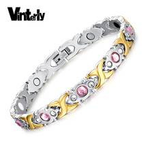 Vinterly Pink CZ Stone Stainless Steel Bracelet Health Infrared Germanium Negative Ion Magnetic Bracelet Bangle for Women