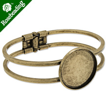 Antique Bronze Plated Adjustable Bracelet Setting With 25MM Round Bezel,Cuff,Lead Free And Nickel Free,Sold 10PCS Per Lot(China)