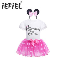 iEFiEL Fashion Girls Kids Fairy Party Costumes Birthday Girls Outfits Children Baby Polka Dot Clothes for Christmas Gift Wear(China)