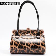 MONFERE Fashion Female Shoulder Bags Women Tote Bags Top-Handle Shiny Frame Round Messenger Bag Vegan Leather Case Box Handbag(China)