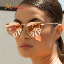 Aimade Women Fashion Cat Eye Sunglasses Vintage Brand Designer Metal Frame Cateye Mirror Sun Glasses For Lady Female UV400(China)