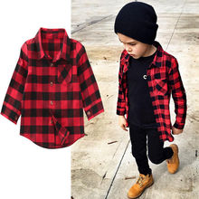 Fashion Kids Boys Girl Cotton Long Sleeve Shirt Plaid Check Shirt Top Blouse Children Clothes(China)