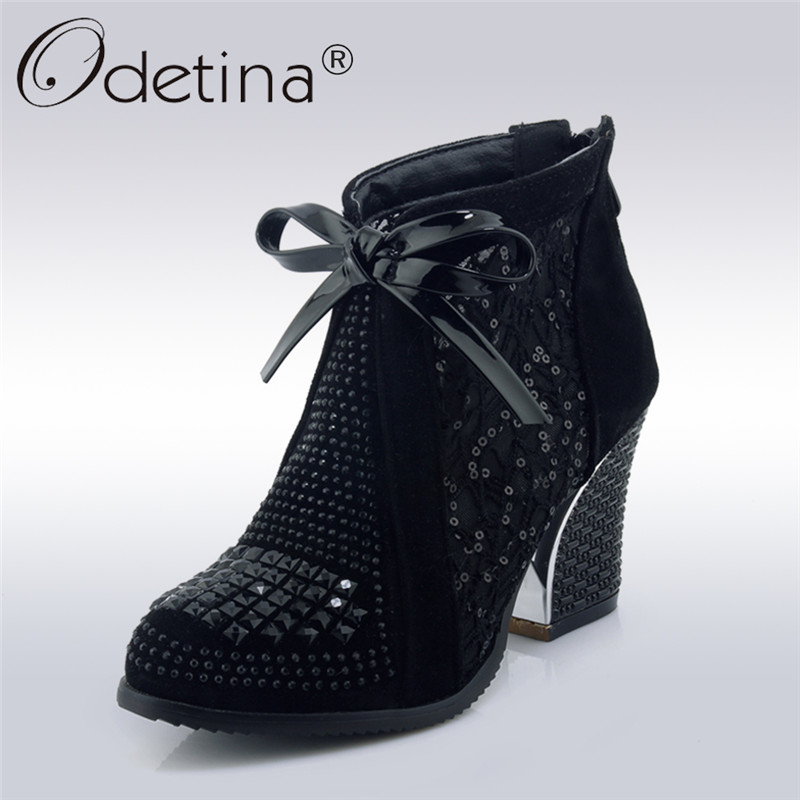 Odetina 2018 New Fashion Mesh Boots For Women Square High Heels Round Toe Shoes Lady Bowknot Ankle Booties With Zip Big Size 43<br>