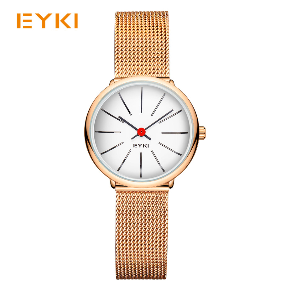 EYKI Women Weave Mech Strap Watches Classic Simple Milanese Stainless Steel Dress Quartz Watch Rose Gold Japan Movement Box<br>