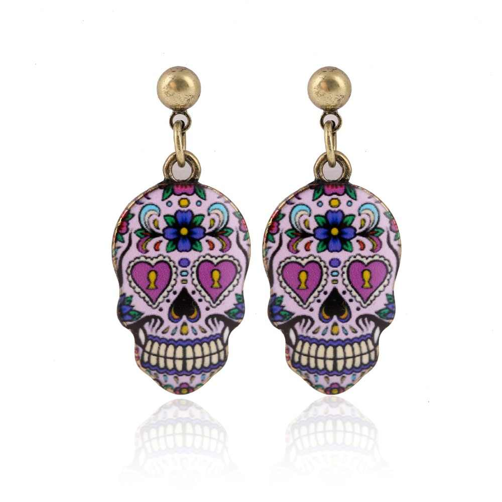 1Pair Calavera Expandable Sugary-sweet whimsical skull Earrings celebrate  Mexican Day of the Dead Halloween 2a46ace437fe