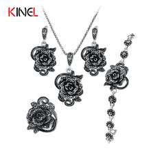 KineL Brand Rose Flower Black Crystal Jewelry Set Plating Ancient Silver 4Pcs/Sets Vintage Wedding Jewelry For Women(China)