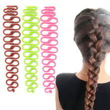 2pcs/ lotFashion Women Twist Styling Hair Braider Creative Magic Hair Braid Tool Holder Clip New Wave Hair Disk Braider #M02168(China)