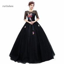 ruthshen Black Quinceanera Dress Cheap Real Photo Vestidos De 16 Anos Scalloped Flowers Ball Gown Sweet 16 Half Sleeves 2018(China)