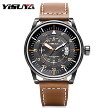 Top Brand YISUYA Japan Quartz Movement Wrist Watch Date Display Black Case Watches with Brown Genuine Leather Band Water Proof