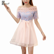 High Waist Mini Dresses Cute Japanese Clothes Women Fashion Pink Party Club Slim A Line Princess Lace Mesh Off Shoulder Dress