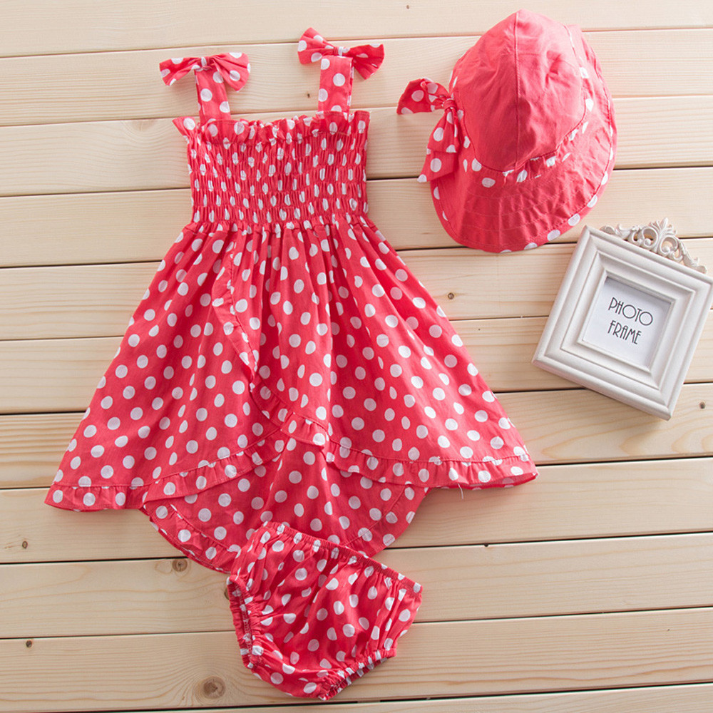 Baby Girls Red Dot 3 pcs Dress+Hat Set Outfit Clothes 0-3 Year Old Girls Dresses Summer 2015 Summer Dress Free Shipping<br><br>Aliexpress