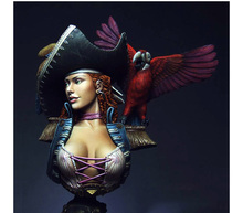Unpainted Kit 1/8 ANNE high 11cm bust pirate woman bust figure Historical WWII Figure Resin Kit Free Shipping(China)