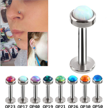 3Pcs(3mm/4mm/5mm)/Lot Opal Lip Stud Labret Monroe Piercing 1.2*6/8mm 16G Blue White Fire Opal Earrings Ear Piercing Cartiliage(China)