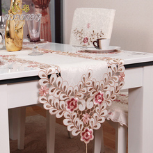 Hot European pastoral tablecloth luxury embroidery table runner elegant fabric TV cabinet cloth mat table cover home decoration(China)