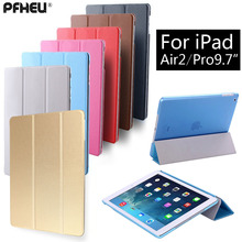 Para ipad air2 pro 9.7 polegada, pfheu pu ultra-fino smart cover case magnet wake up do sono para apple ipad air 2 pro9.7""
