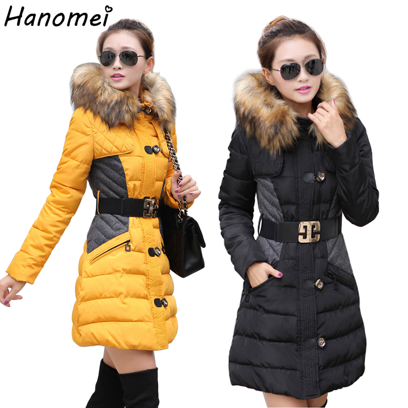 Slim Long Winter Jacket Women Fur Collar Hooded Belted Warm Parka 2017 Thick Abrigos Mujer Cotton Padded Jaqueta Feminina C421Одежда и ак�е��уары<br><br><br>Aliexpress