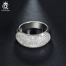 ORSA JEWELS Silver Color Wedding Band Engagement CZ Ring Paved 168 Pieces AAA Austrian Crystal Luxury Jewelry for Women OR122(China)