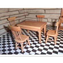 Novelty 1:12 Miniature Furniture Table Desk & Chairs Set Dollhouse Accessories For Kitchen Diningroom 5 Pcs/Set