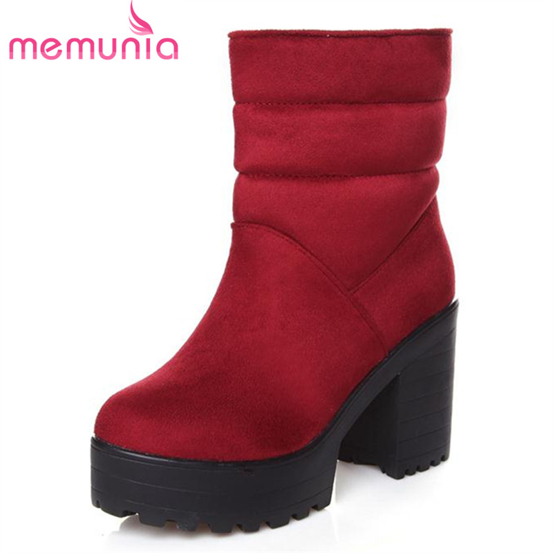 MEMUNIA Classic hot sale high square heels boots women winter warm ankle boots platform shoes solid flock suede boots <br><br>Aliexpress