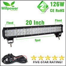 CE ROHS approved waterproof 10100lms 126W led bar offroad driving light led light bar work light 12v(China)